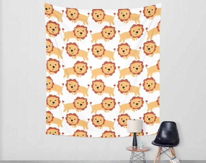 Lion Nursery Hanging Tapestry - Wall Tapestry -  Large Wall Hanging - Original Nursery Art - Childs Room Tapestry Decor - Made to Order