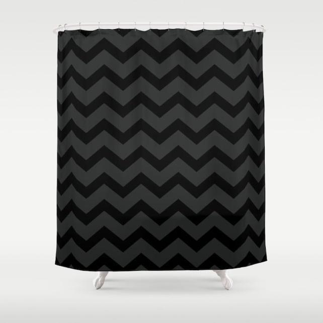 Black And Grey Chevron Shower Curtain