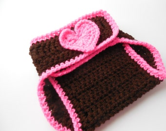 Girl Football Baby Diaper Cover - Brown and Hot Pink - Handmade Crochet - Ready to Ship