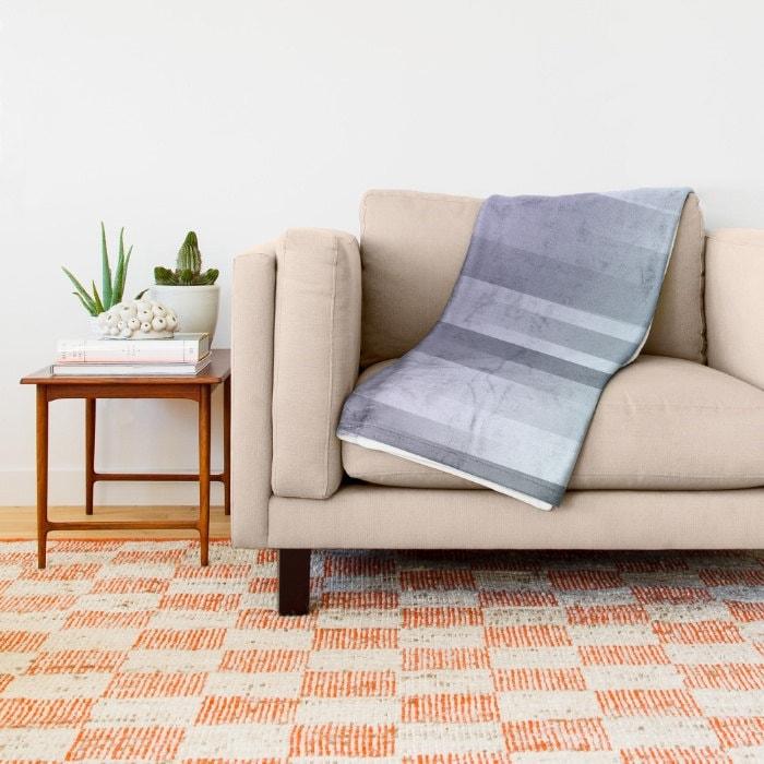 Polaire ombre jeté, couverture - literie - bleu - gris - violet - polaire - réalisé sur commande