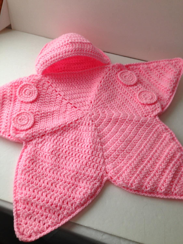 Baby Bunting Bag Pink Star Bunting Handmade Crochet