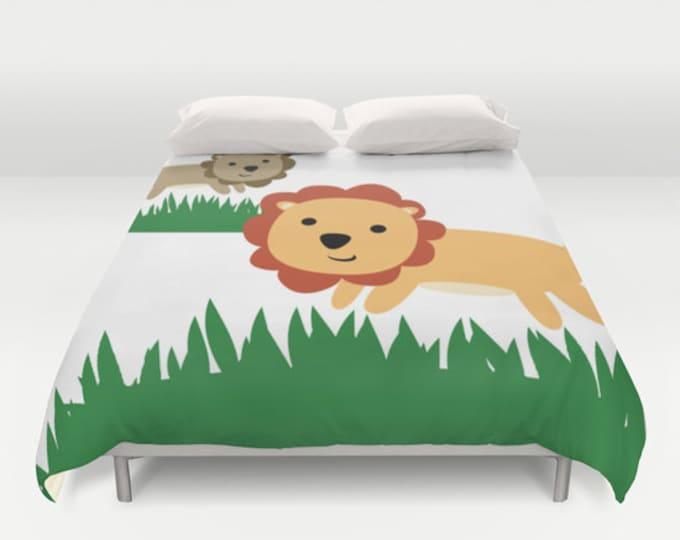Lion Art Duvet Cover - Nursery Art - Duvet Cover Only - Bed Spread - Bedroom Decor - Made to Order