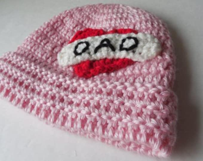 Pink Biker Baby Beanie - I love Dad - Baby Hat - Handmade Crochet - Ready to Ship