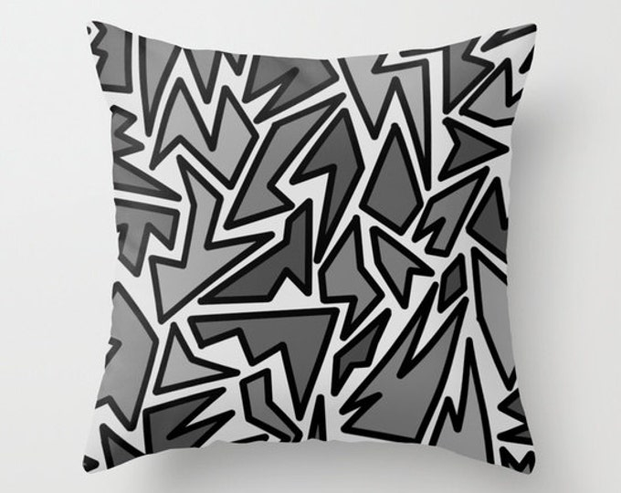Black and Gray Abstract Pillow Cover - Includes Pillow Insert - Zig Zag Art - Sofa Pillow - Throw Pillow - Made to Order