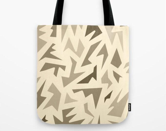 Brown Abstract Tote Bag - Book Bag - Grocery Bag - Beach Bag - Brown ZigZag Tote Bag -  Made to Order