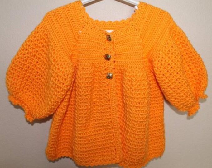 Baby Sweater Coat - 12 to 18 Months - Orange Baby Sweater  - Handmade Crochet - Ready to Ship