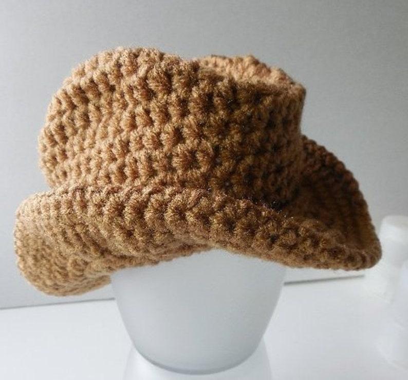 Cowboy Baby Hat and Booties Handmade Crochet Made to Order Brown Cowboy Hat and Cowboy Boots Set