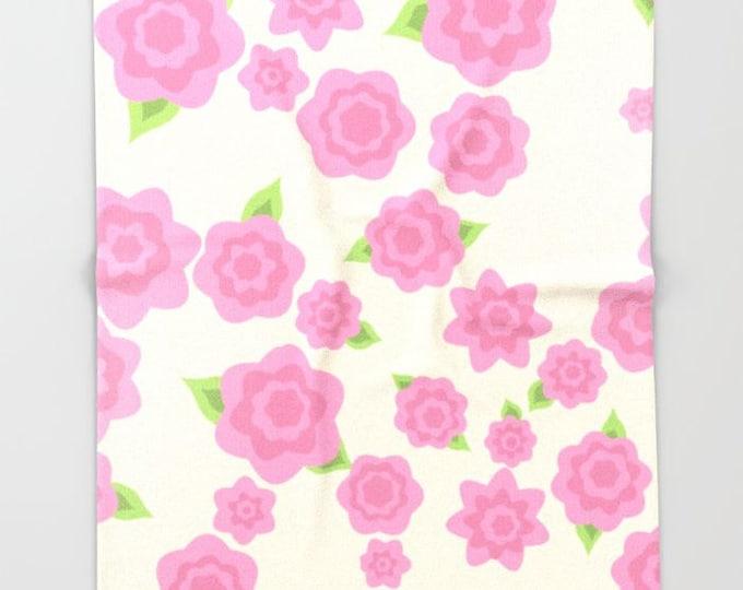Pink Flower Fleece Throw Blanket - Bedding - Flower Art - Pink Fleece Throw Blanket - Made to Order
