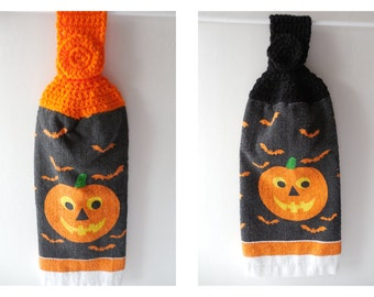 Halloween Pumpkin Hanging Towels - Set of 2 - Black or Orange- Crochet Top - Handmade Crochet - Halloween Decor - Ready to Ship