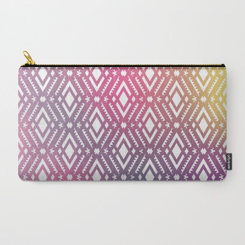 Pink Tribal Carry All Pouch Organizing Bag Made to Order Make-up Bag-Original Photograph- Pouch- Toiletry Bag Change Purse