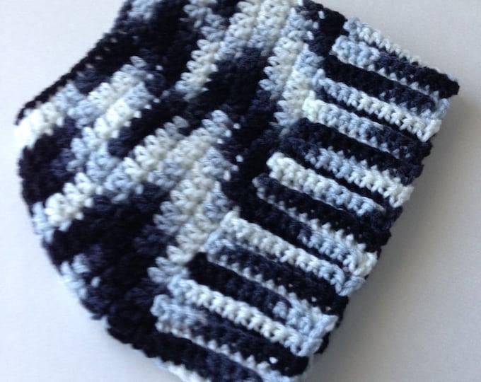 Bun Hat - Pony Tail Hat - Black and White - Crochet Bun Beanie - Handmade Crochet - Ready to Ship
