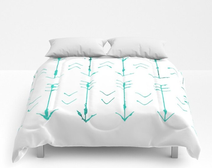 Teal Arrow Comforter - Bed Cover - Bedding - Hand Drawn Large Arrows - King - Queen - Full - Twin - Made to Order
