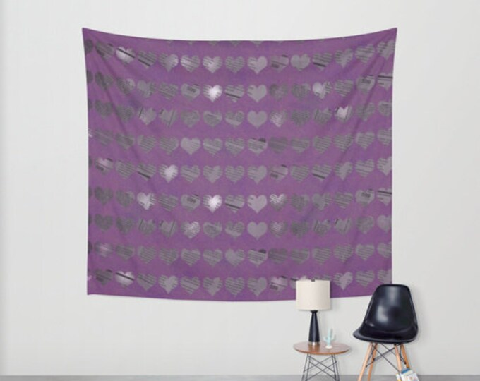 Purple Hearts Hanging Tapestry - Wall Tapestry - Newspaper Heart Art - Large Wall Hanging - Home Decor - Made to Order