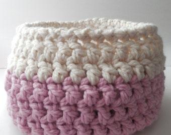 Baby Bowl - Crochet Basket - Photo Prop - Baby Basket - Pink and White - Crochet Bowl - Photo Baby Bowl - Handmade - Crochet - Ready to Ship