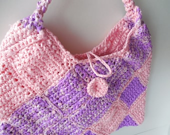 Shoulder Bag Purse - Bag - Pink and Purple - Unusual Purse - Handmade Crochet - Ready to Ship