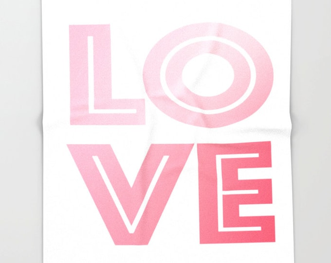Love Super Soft Fleece Throw Blanket - Bedding - Pink and White Love Blanket - Fleece Throw Blanket - Made to Order