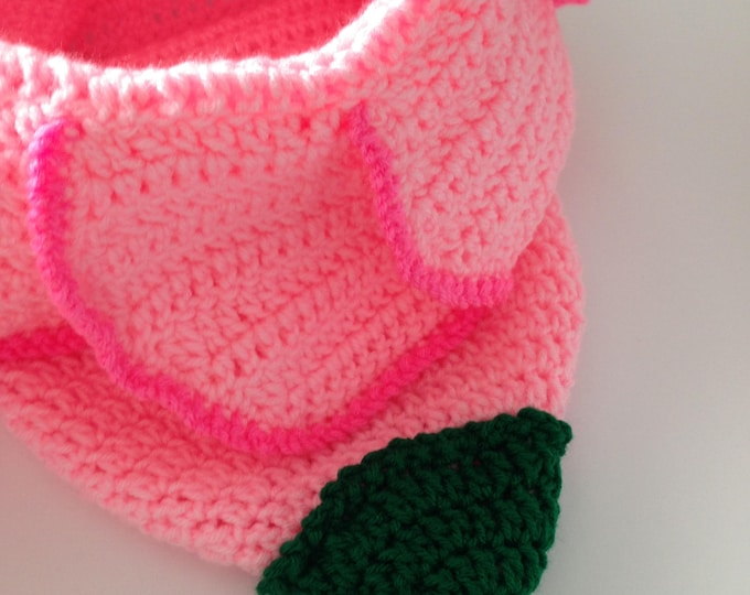 Baby Bunting Bag - Pink Flower Baby Cocoon - Handmade Crochet - Ready to Ship