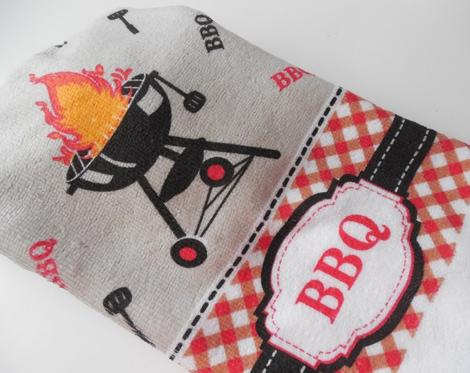 BBQ - Kitchen Towel -  Crochet Top - Handmade - Hanging Towel - Black and Red - Handmade Crochet - Ready to Ship