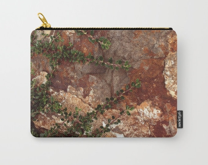 Unisex Carry All Pouch - Toiletry Bag - Make-up Bag- Rocks and Leaves - Pouch-  - Change Purse - Organizing Bag - Made to Order