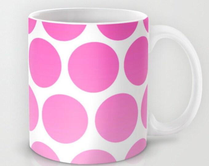Pink Polka Dot Coffee Mug - Hot Pink and White - 11 oz Mug - 15 oz Mug - Original Art - Ceramic Coffee Cup - Made to Order