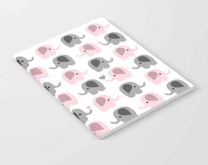 Elephant Notebook - Pink and Gray Elephants - Blank Book - Lined - Unlined - Made to Order