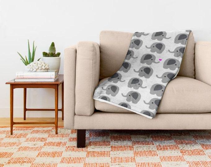 Elephant Fleece Throw Blanket - Bedding - Elephants with Hearts - Nursery Art - Childs Fleece Throw Blanket - Made to Order