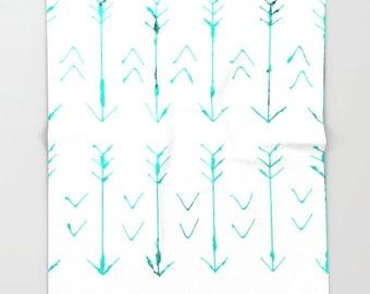 Teal Arrow Soft Fleece Throw Blanket - Bedding - Hand Drawn Arrows - Fleece Throw Blanket - Made to Order