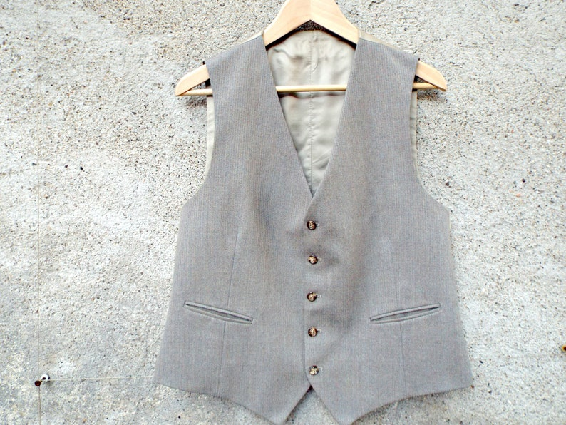 italian men/'s wool WAISTCOAT mens VEST slim fit tweed wedding vest godfather 3 piece suit grey wool fabric mens clothes clothing accessory
