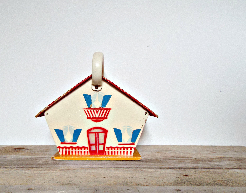 Playhouse Wooden House Kids Toy Storage Retro Treasury Box Dollhouse Nursery Decor Babyshower Gift