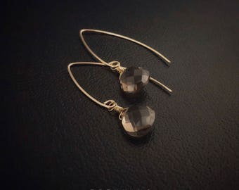 14K Gold Filled Smoky Quartz Teardrop Earrings [Grade 5A]
