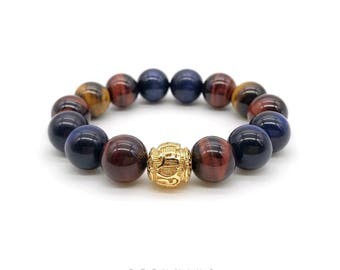 24K Gold Plated Six True Words Tiger Eye Bracelet 5A