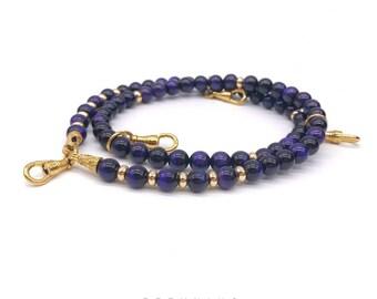 24K Gold Plated Purple Tiger Eye Amulet Necklace