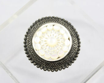 1970s Silver and Mother of Pearl Pendant | 70s Vintage Carved MOP Medallion