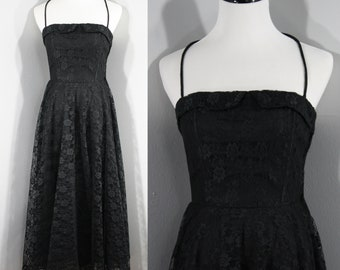 1980s Black 1950s Style Prom Dress by Boutique Europa, Extra Small to Small | 80s Vintage Lace Dress (XS, S, 32-25-Free)