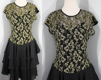 cb65dce4fb0 1980s Black and Gold Cocktail Dress by Late Edition