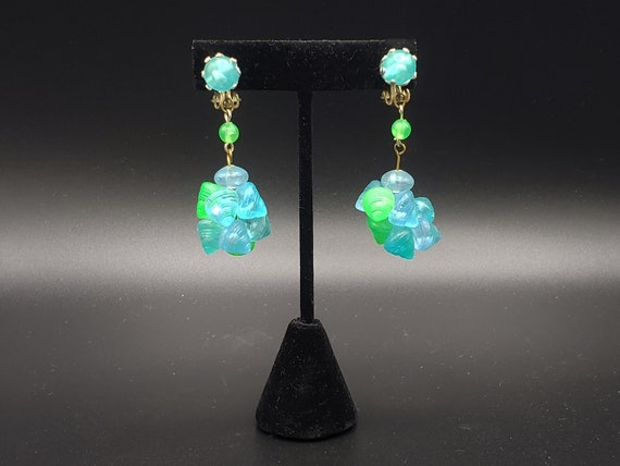 1960s Turquoise and Green Earrings   60s Vintage … - image 2