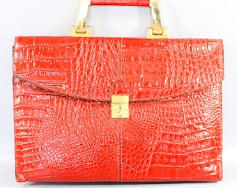 1980s Leather Stamped Alligator Red Satchel by Amelia Berko | 80s Vintage Crimson Handbag/Purse