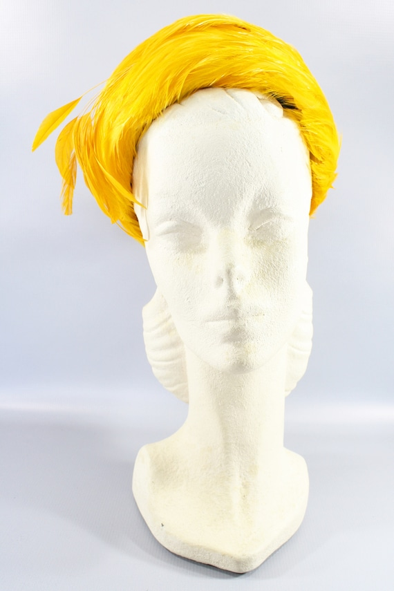 1960s Mustard Yellow Feather Hat | 60s Gold Pillbo