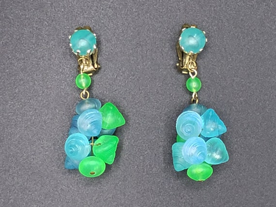 1960s Turquoise and Green Earrings   60s Vintage … - image 1