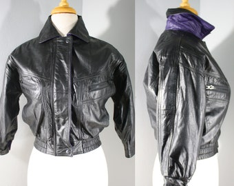 1980s Black Cropped Leather Jacket by KC Creations, Extra Small | 80s Black and Purple Leather Coat (XS, 34-30)