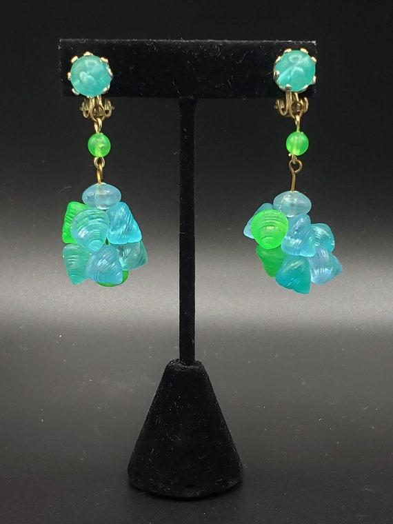 1960s Turquoise and Green Earrings   60s Vintage … - image 4