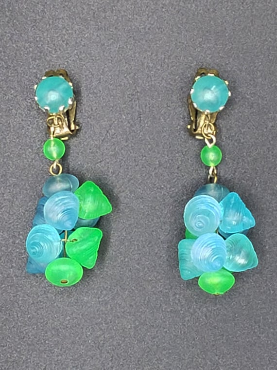 1960s Turquoise and Green Earrings   60s Vintage … - image 3
