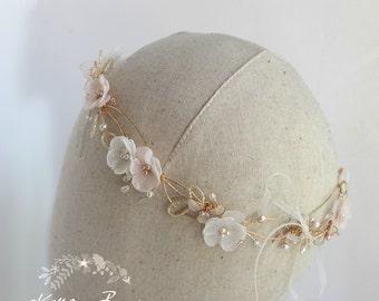 Rose gold blush pink crown headband - wreath floral circlet  - bridal hair accessories - wedding STYLE: Jamie