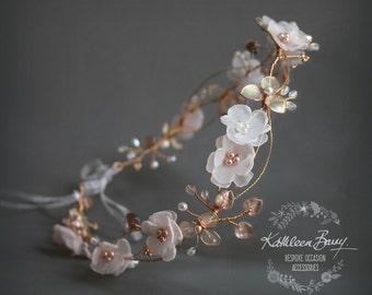Rose gold blush pink headband - wreath floral crown circlet  - bridal hair accessories - wedding STYLE: Elaine