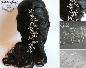 Bridal Hair vine Wedding hair accessory - multiple styling options, crystals and pearls, available in silver, gold, rose gold STYLE: Carly