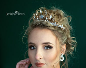 Tiara style bridal crown rose gold and pale opal blue - wedding hair accessories - custom colors to order STYLE: Paige