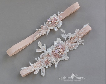 Blush pink  Lacel garter set of two - Opalescent Rhinestone, crystals, pearls & hint of rose gold - custom colors to order STYLE: Larissa