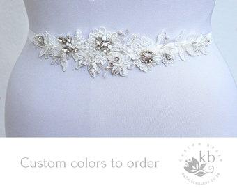 Lace bridal belt wedding dress sash hand beaded off white  - Custom colors to order STYLE: Sylvia