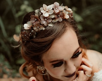 Muted metallic shade floral tiara style crown, wedding flower hairpiece - custom colors to order STYLE: Melinda