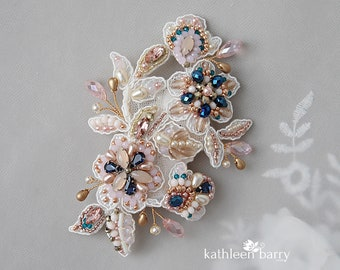 Lace bridal beaded hair clip crystal, rhinestone blush pink navy blue, teal and gold wedding accessories - colors to order Style: Jennifer